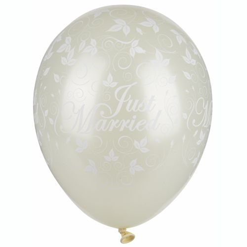 30 GLOBOS Ø 29 CM MARFIL JUST MARRIED METALICO