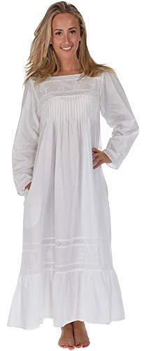 The 1 for U 100% Baumwolle Viktorianisches Stil Nachthemd mit Taschen - violett- XS - XXXL - Weiß, Weiß, Medium