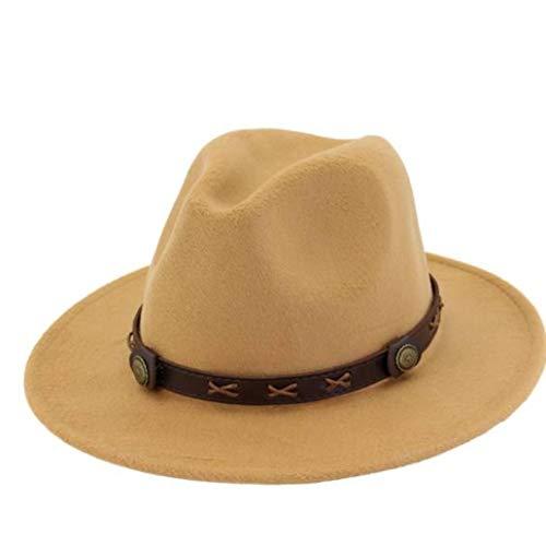 GOUNURE Leichter Western-Cowboyhut aus Stroh mit breiter Krempe und braunem Ledergürtel -