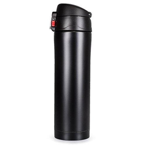 Thermos-Kanne mit Dreh-Verschluss, doppelwandige Edelstahl Isolier-Kanne für unterwegs, 400ml Inhalt, Tee-Kanne, Kaffeekanne, Thermosflasche, Kaffee-Becher, Farbe matt schwarz, Marke YOUZiNGS (Edelstahl Isolier-becher)