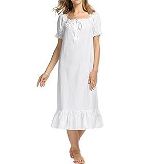 AIMADO Damen Mädchen Romantisches Nachthemd kurzarm Vintage 100% Baumwolle mit Rüschen Nachtwäsche Schlafanzug, Weiß(lang), XS