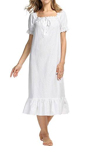 AIMADO Damen Mädchen Romantisches Nachthemd kurzarm Vintage 100% Baumwolle mit Rüschen Nachtwäsche Schlafanzug, Weiß(lang), M (Vintage Mädchen Nachthemd)