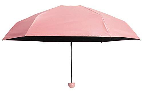 OOFAY Schwarzer Kunststoff-Fünffachschirm,Belüftung und winddichter Regenschirm,Automatischer unverwüstlicher Reiseschirm,Pink -