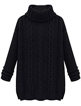 Mujeres Calientes De Punto Costilla Loose Knit Camiseta Cuello Vuelto Sólido Suéter
