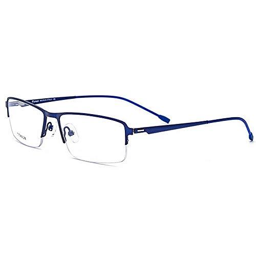 Yiph-Sunglass Sonnenbrillen Mode Leichte Titanlegierungs-Azetat-Faser-halbrandlose quadratische Form-Flexible Geschäfts-Brillen-Rahmen-Brille mit klarer Linse (Farbe : Blau)