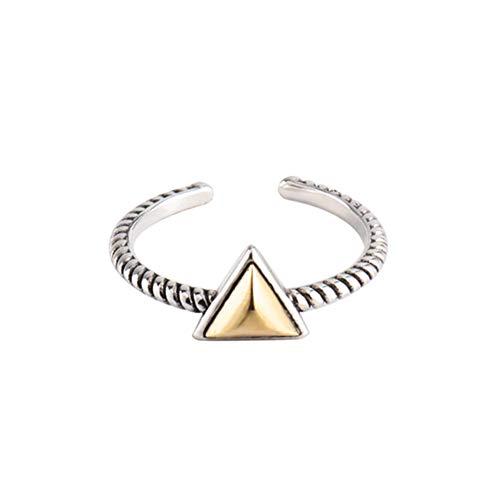 Damen 925 Sterling Silber Ring, Retro Goldene Dreieck Verdrillte Leitungen Modische Öffenbare Einstellbare Finger Ringe, Urlaub Geschenke Jahrestag Hochzeit Engagement Engagement Brautzusätze