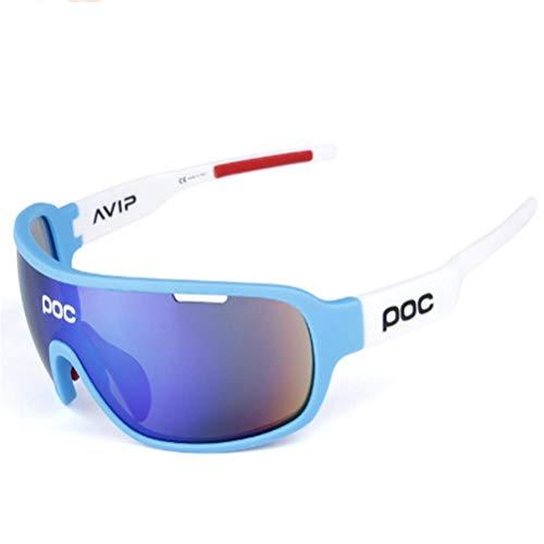 NSMZ POC Outdoor Herren Und Damen Sport Polarisierte Reitbrillen Polarisierte Sonnenbrillen Sport Reitbrillen,WhiteFrame