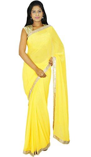 Parti traditionnelle indienne Porter Sari Designer Georgette Saree mariage cadeau pour elle