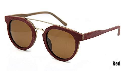 LKVNHP runde Holz Muster Sonnenbrille männer Frauen Metall brücke Design polarisierte Sonnenbrille Brille oculos de sol Sonnenbrillerot