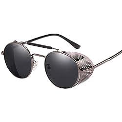 AidShunn Unisex Steampunk Estilo Retro Inspirado Círculo Metálico Redondo Gafas de Sol