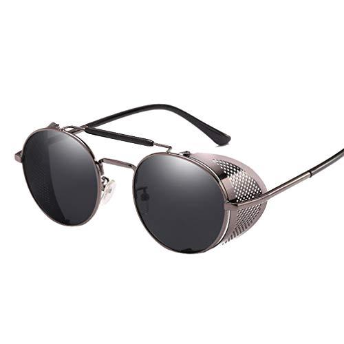 AidShunn Steampunk Stil Rund Vintage Sonnenbrillen Brillen UV400 Schutz Metall Rahmen