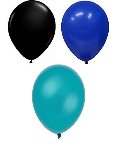 INERRA Globos - Pack of 75 Mezclado (25 X Negro & 25 X Azul Turquí& 25 X Turquesa) Látex 10' For Helio o Aire