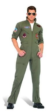 Aviator Top Gun Deluxe Fight Pilot Jumpsuit Costume Fancy Dress Outfit Halloween Carnival (Medium Size- A Model)