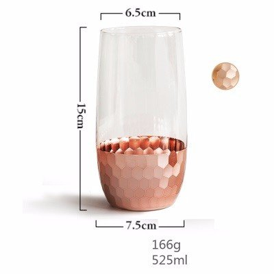 Gold-plated Cup (WANG-shunlida Glass Cup Gold Plated Cups Haushalt Gläser Kaltes Getränk Tassen Saft Tassen Milch Tassen Transparent Fashion Ins,F)