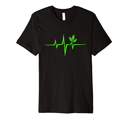 Puls Grün Herzschlag Vegan Heartbeat Pflanze Baum T-shirt -