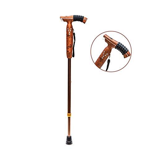 Multi-Funktion Intelligente Ältere Krücken Walking Rohrstab, Verstellbare LED-Licht Rutschfesten Teleskop-Gehstock Smart Radio Aluminium Krücken, Bronze Farbe