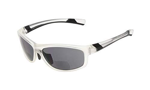 Eyekepper Mode Sport Bifokale Sonnenbrille TR90 Unzerbrechlich Draussen Leser Baseball Laufen Angeln Fahren Golf Softball Wandern Klar Rahmen Grau Linse +3.0
