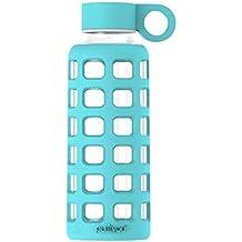 Botella de agua de cristal con funda de silicona y tapa de acero inoxidable de Purifyou