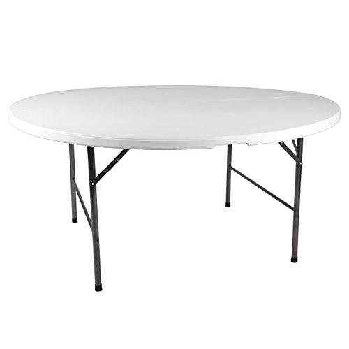Nexos Partytisch rund 160 x 75 cm klappbar weiß Gartentisch bis 8 Personen 24 kg pflegeleicht robust Klapptisch