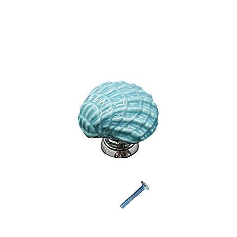 Céramique Bouton Poignée Décorative Forme de Coquille pour Porte Cabinet Tiroir Armoire - Bleu