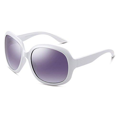 LQQAZY Sonnenbrille Weiblich Mode Retro Polarisator Großer Rahmen Fahren Sonnenbrille Gezeiten Sonnenbrille,White
