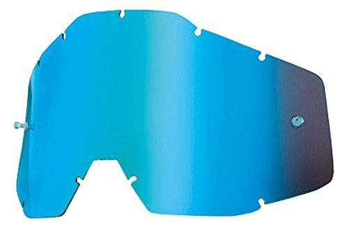 100% Racecraft/Accuri/Strata Ersatzlinse Spiegel/Anti-Nebel, Blau, Größe One Size (Verspiegelte Goggle Leistung)