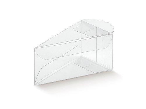 10 Stück Kartonage Transparent, FETTA TORTA c/pizzo Trasparente transparent, 90 x 50 x 40 mm, Geschenkverpackung Hochzeit Taufe