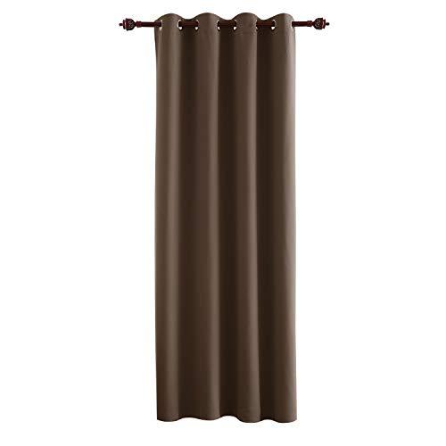 Deconovo Tenda Oscurante Termica Isolante con Occhielli per Finestre Soggiorno Interni 140x260cm Un Pannello Marrone