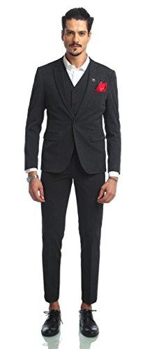 PIZOFF Herren Hippie Faschion Luxus Anzug Slim Fit 3 Teilig Superenger Blazer Sakko Anzughose Business Smoking Karomuster AB002-04-XL