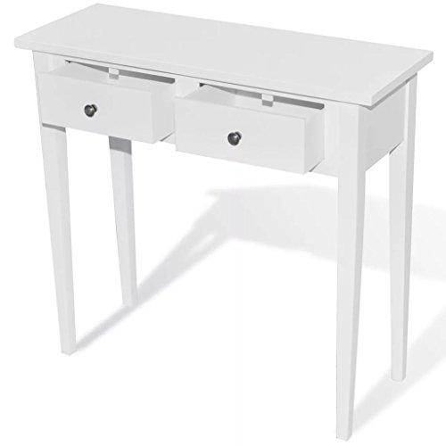 Tidyard tavolo consolle da trucco con 2 cassetti bianco,79 x 30 x 74 cm (l x p x a)