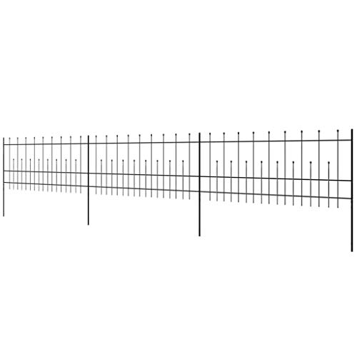 Festnigh Panello di Recinzioene Palizzato Ornamentale di Sicurezza in Acciaio 600x100cm/600x120cm da Giardino/Esterno