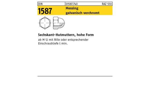 Mutter Hutmuttern M10 DIN 1587 hohe Form Hutmutter Messing