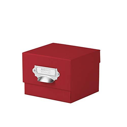 Rössler 1325452360 - S.O.H.O. Foto-Aufbewahrung- Sammelkiste, mit beschriftbarem Einsteckschild, rot -