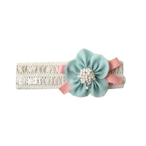 HuaYang Pour les bébés bandeau floral d'élastique de fleur de mousseline(Blue)