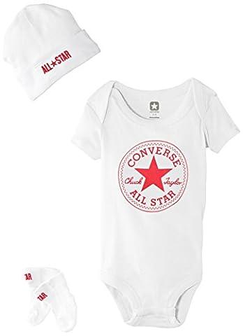 Converse CNV053 Baby-Boys 3 Piece Clothing Set, Converse White, 3-6