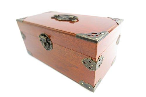 Schmuckschatulle Geldkassette Kästchen Schmuckkästchen Holz Farbe Mahagonie Braun 22cm