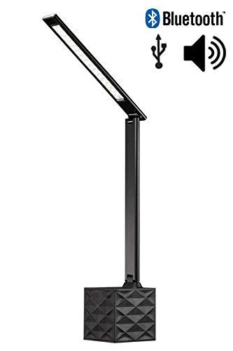 ART Premium Büroleuchte mit Ladefunktion, schwarz ✓ Dimmbar ✓ Höhenverstellbar ✓ USB- & Audio-Anschluss | Tischlampe mit Lautsprecher | Schreibtischleuchte mit Bluetooth für Smartphone & Tablet Mobile Arbeit-feld