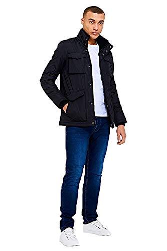 Threadbare Herren Designer PONTIAC viele Taschen leichte Jacke - Schwarz, S - 91-97cm Brust (97 Pontiac)