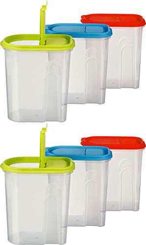 Kigima Müsli Cornflakes Schüttdose große Vorratsdose 2 Liter 6er Set grün/blau/rot 2 Liter Dose