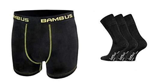 TippTexx 24 2 seidig weiche Bambus Boxershorts +3 Paar Paar Bambussocken mit zusätzlicher Garantie, Ökotex 100 (Schwarz/Gelb u. Schwarz, Shorts L/6 Socken 39-42)