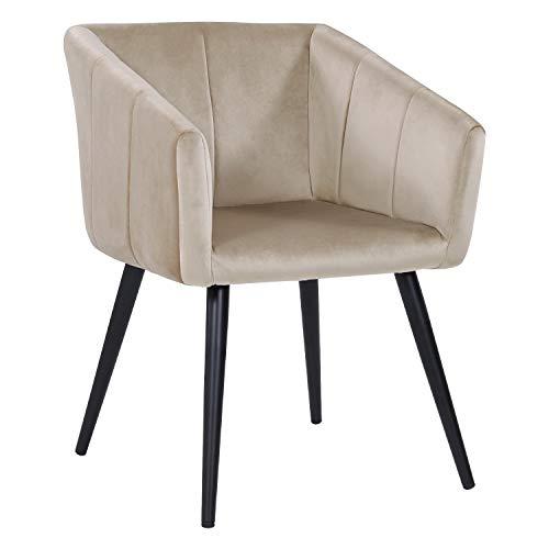 TissuVelourscrème Duhome Design Retro en sélection Couleur à de Salle 8065 Manger Beige Chaise avec Pieds Fauteuil Metal en 5LAR4j