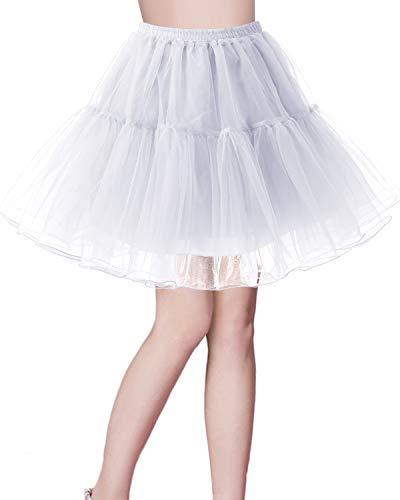 bridesmay Kurz Retro Petticoat Rock 1950er Vintage Tutu Ballett Unterkleid Weiß XL