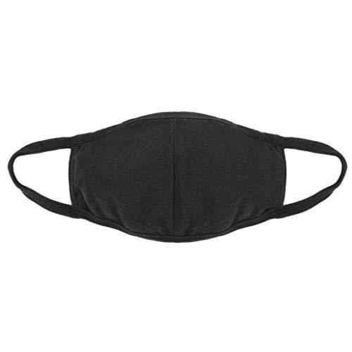 BOLANQ 3 Stück Grippe-Staubmasken, wiederverwendbar, Aktivkohle-Baumwollfilter, atmungsaktiv, Sicherheits-Atemschutzmasken für Outdoor-Radfahren, Schwarz, Free Size