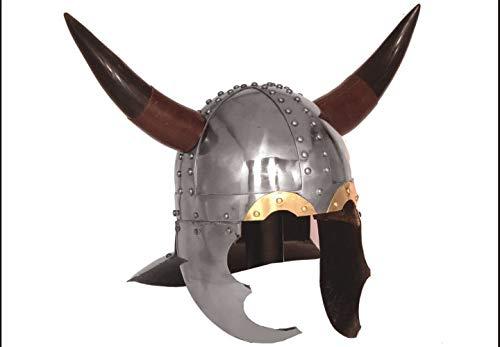 Gehörnter Helm von Viking -16 Gauge Steel mit Lederfutter (Helm Gehörnter)