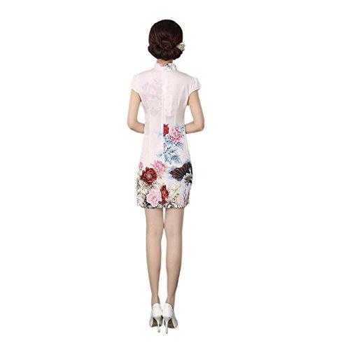 haodasi Damen Mode Chinesisch cheongsam Kleidung Chinesischen Stil retro  cheongsam Nachahmung Seide Cheongsam Kleid Rosa