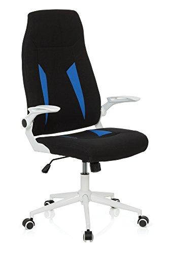 hjh OFFICE Bürostuhl Gaming PC Stuhl GLORIUS, Chefsessel mit Armlehnen, Drehstuhl zum Gamen und extremen Zocken, ergonomischer Racer, Schreibtischstuhl, Kunstleder, Stoff schwarz/blau 719810