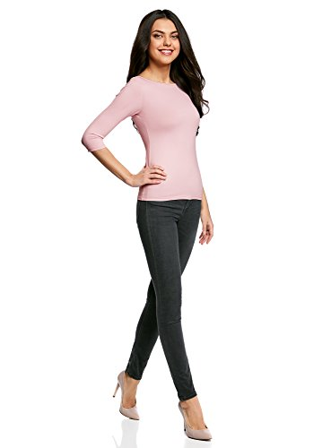 oodji Collection Damen T-Shirt Basic mit 3/4-Ärmeln Rosa (4000N)