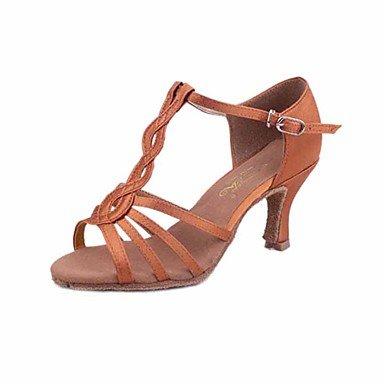 Scarpe da ballo-Personalizzabile-Da donna-Balli latino-americani Salsa-Tacco cubano-Raso-Nero Marrone scuro Dark Brown