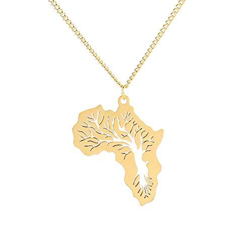 Link Kostüm Karte - DADATU Halsketten für Herren Hiphop Afrika Halskette Gold Farbe Anhänger Link Kette Afrikanische Karte Geschenk Baum des Lebens Äthiopischen Schmuck Für Frauen/männer