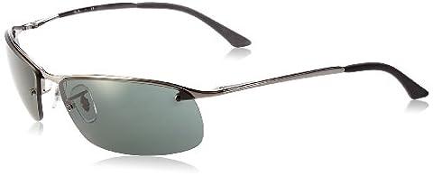 Ray Ban Unisex Sonnenbrille Top Bar, Gr. Large (Herstellergröße: 63), Grau (Gestell: gunmetal, Gläserfarbe: grün klassisch 004/71)